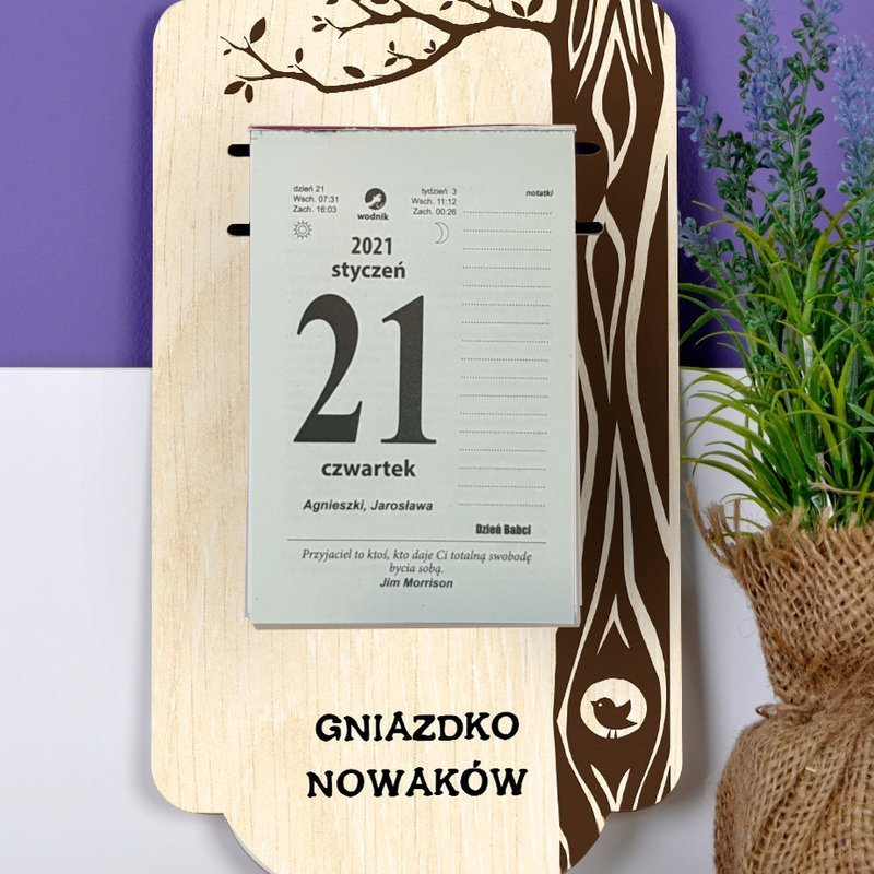 Kalendarz na deseczce z nadrukiem- Drzewo