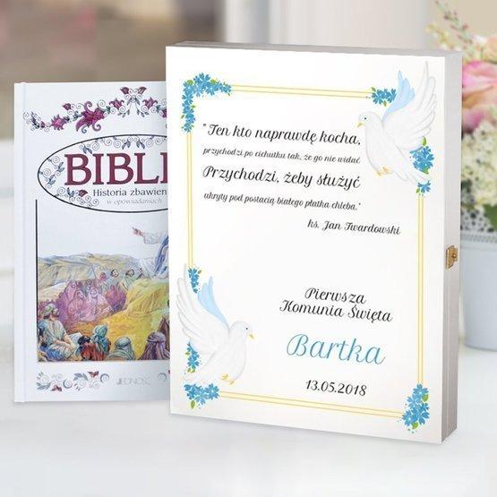 Biblia w drewnianym pudełku - gołębie w kolorze różowym