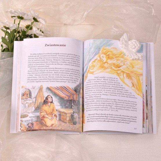 Biblia w drewnianym pudełku - różaniec