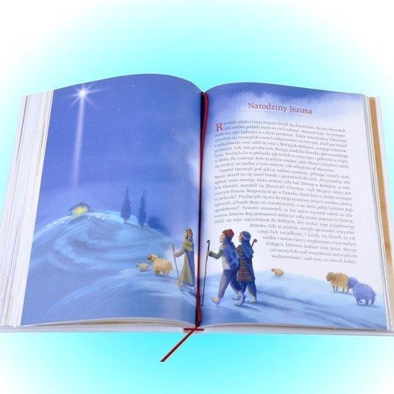 Biblia w pudełku drewaninym dla chłopca - Pamiątka Chrztu Św. - Kwiaty