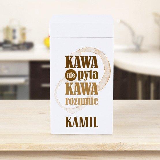 Drewniane pudełko na kawę - Kawa nie pyta