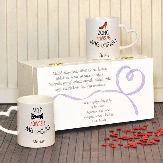 """Dwa kubki w pudełku z nadrukiem """"Mąż i Żona""""- prezent na ślub lub rocznicę"""