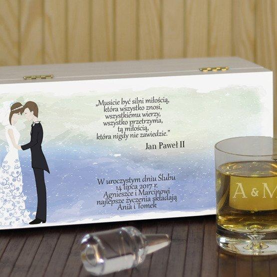"""Dwie szklanki w pudełku na ślub- """"Młoda Para"""""""