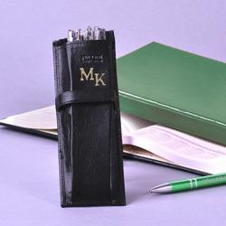 Etui na długopisy PUCCINI czarne z inicjałami