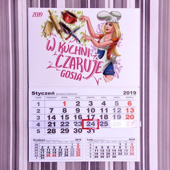 Kalendarz ścienny z nadrukiem- w kuchni czaruje
