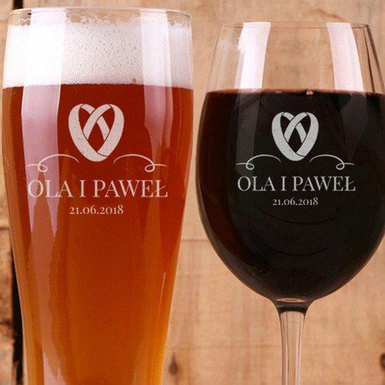 Kieliszek do wina i szklanka do piwa - Obrączki