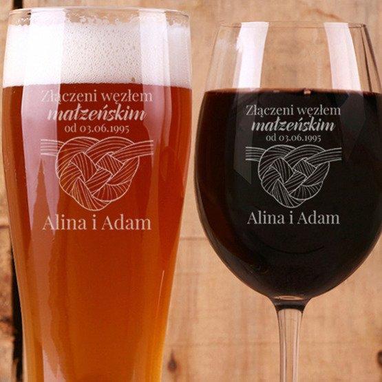 Kieliszek do wina i szklanka do piwa - Węzeł małżeński