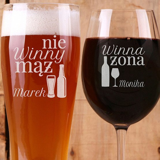 Kieliszek do wina i szklanka do piwa - prezent dla pary