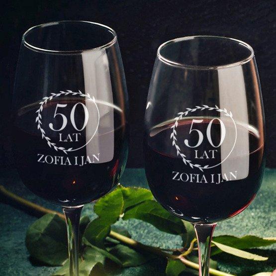 """Kieliszki do wina """"wieniec laurowy""""- prezent na rocznicę ślubu"""