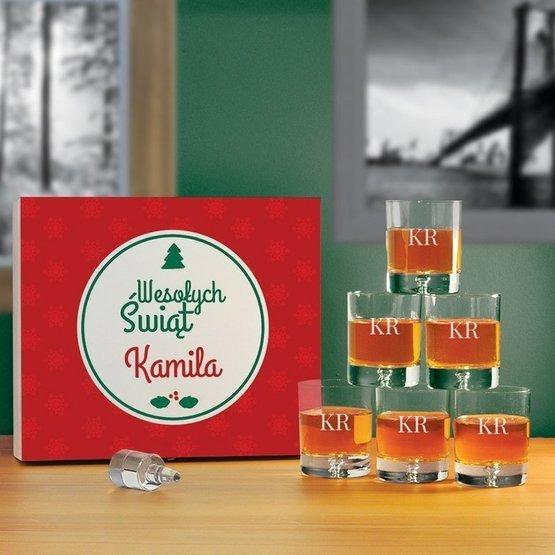 Komplet szklanek w pudełku z nadrukiem - Wesołych Świąt + Inicjały