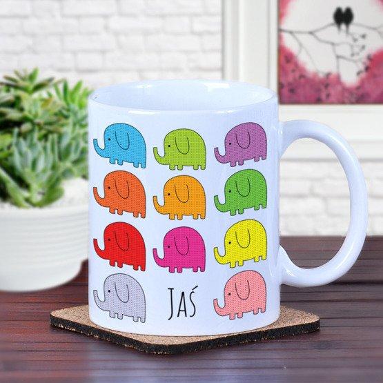 Kubek - kolorowe słonie