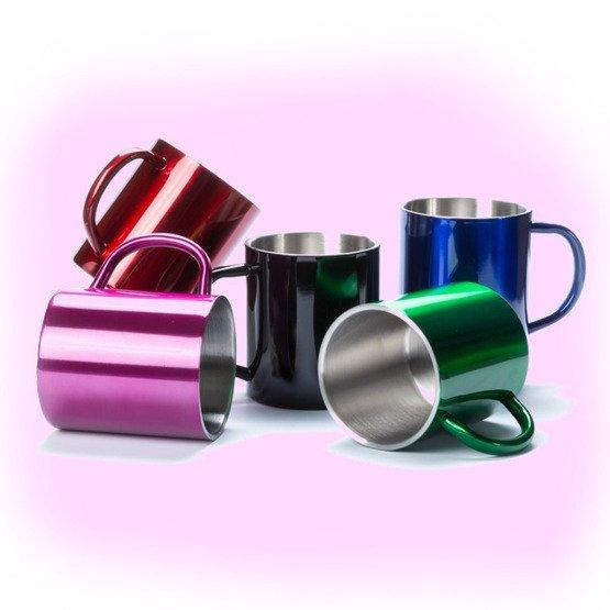 Kubek metalowy- Przed i po kawie