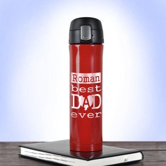 Kubek termiczny 450ml czerwony- Best Dad ever