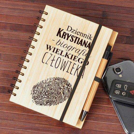 """Notes bambusowy """"Biografia wielkiego człowieka"""""""