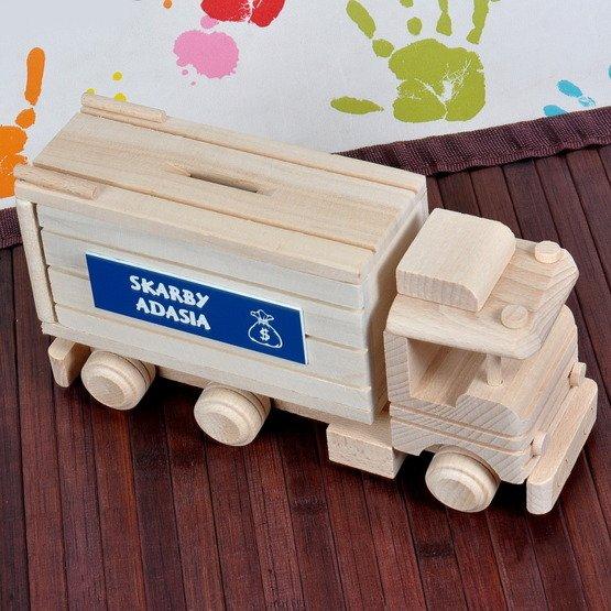 Zabawka drewniana- TIR skarbonka