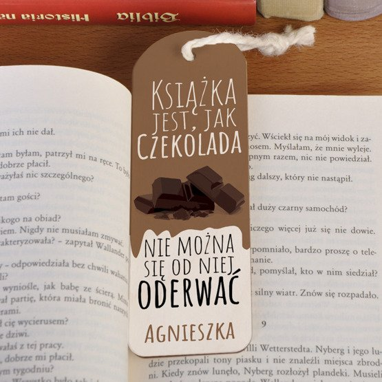 Zakładka do książki ze sznureczkiem- ... jak czekolada