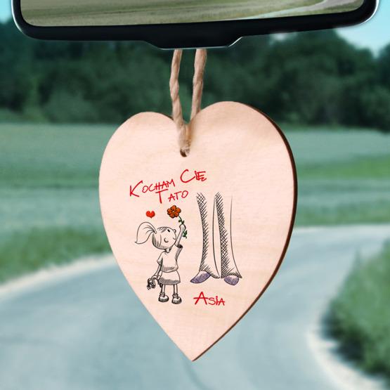 Zawieszka drewniana  serce z nadrukiem - Kocham Cię Tato - od córki