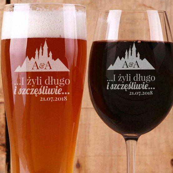 Zestaw dla dwojga - kieliszek i szklanka do piwa - żyli długo...