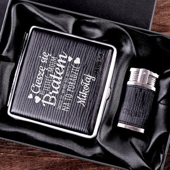 Zestaw prezentowy dla brata zapalniczka z papierośnicą